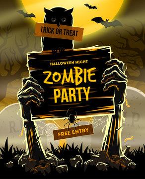 Halloween vector illustration - invitation to zombie party