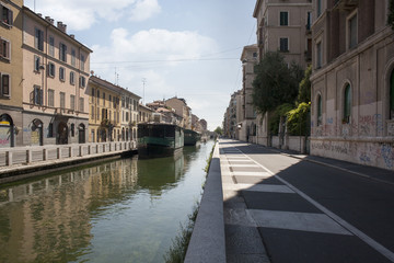 Naviglio Pavese, canal waterway in Milan, Italy