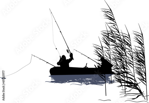 рисунок контур рыбаки