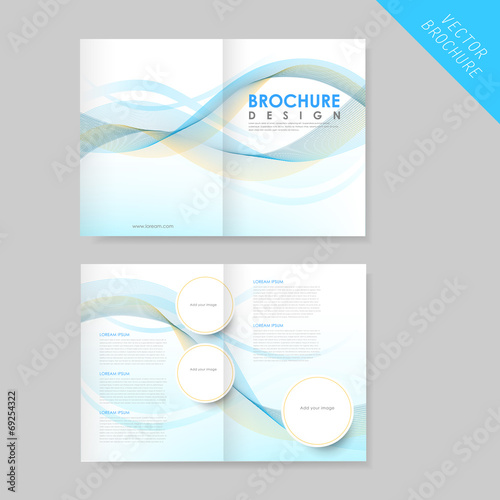 Modern Streamlined Half Fold Brochure Template Stock Image And