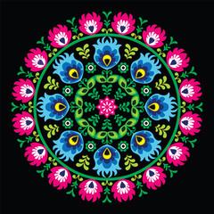Polish traditional circle folk art pattern on black - fototapety na wymiar