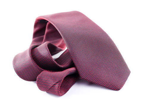 Brown tie on white background isolated