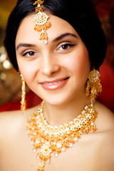 beauty sweet indian girl in sari smiling close up