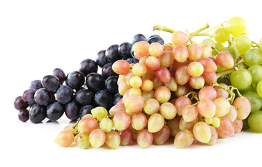 Different types of grapes isolated on white