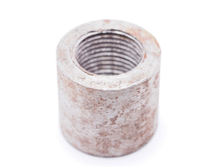 steel nut on a white background