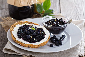 Blueberry jam on bread
