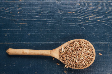 wooden spoon full of crops on the blue table