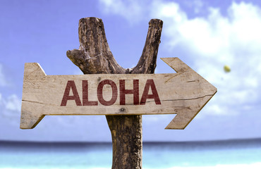 Aloha wooden sign with a beach on background