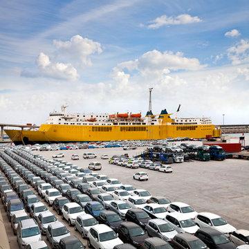 Cargo sea port. Sea cargo cranes. Cars.