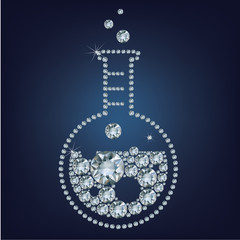Chemistry flask icon made up a lot of diamonds
