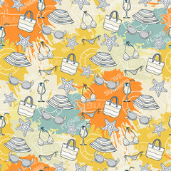 Summer pattern on the background of colorful blots