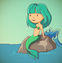 Little mermaid sitting on the rock