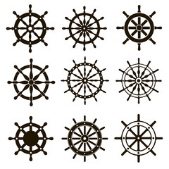 9 images of ship steering wheels
