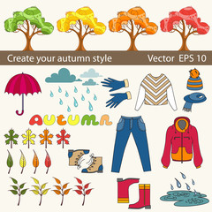 Vector set of autumn symbols for use in design