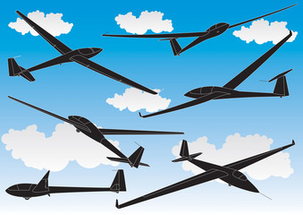 vector gliders outlines set