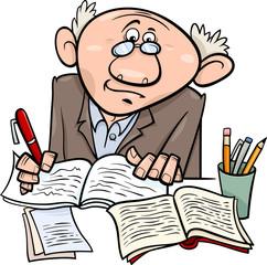 professor or writer cartoon illustration