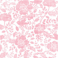 Pink textile birds and flowers seamless pattern background