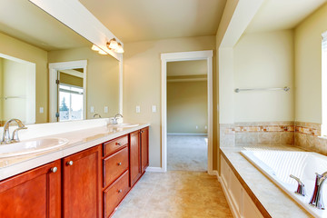 Bathroom in soft ivory with bright cabinet