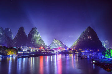 Yangshuo, China Town Skyline with Karst Mountain Landscape
