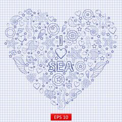 I love the sea,heart