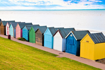 Beach huts in Englands