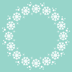 snowflakes Christmas winter round frame design element