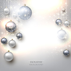 Elegant shiny Christmas background with baubles and place for te