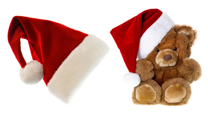 teddy bear with santa hat. christmas decorations