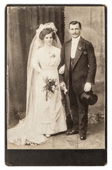 antique wedding photo. portrait of just married couple