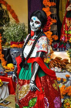 Woman disguised for Dia de los Muertos, Puebla, Mexico