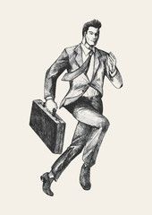 Sketch of a businessman running with a briefcase