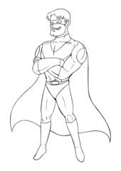 Outline illustration of a superhero
