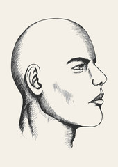 Sketch illustration of a male face