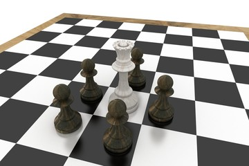 White queen surrounded by black pawns