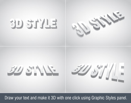 3d Illustrators Text Effect - use graphic styles library