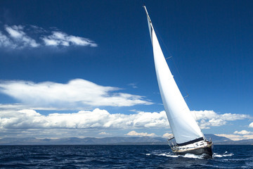 Luxury yachts. Boat in sailing regatta.