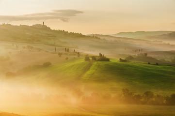 Photo Blinds Honey Rural landscape of Tuscany on a hazy sunny morning