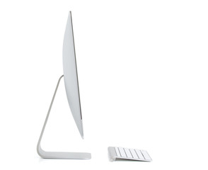 Modern desktop computer isolated on white background