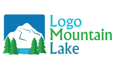 Logo with tree, mountain and lake