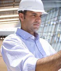 Businessman inspecting construction site