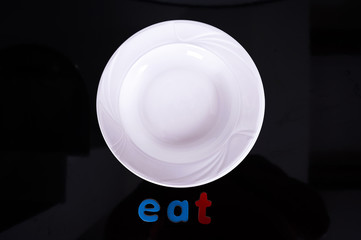 White Plate isolated on Black background