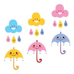 cute umbrellas raindrops clouds characters vector illustration
