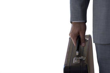 Close up of businessman holding briefcase, cut out