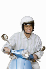 senior man on scooter, cut out