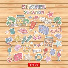 Summer vacation scrap set.Scrapbook set.Sticker.