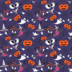 Vector pattern with cartoon symbols of Halloween