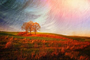 Jesienne pola w stylu retro