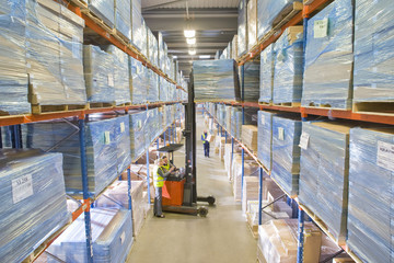Warehouse workers moving boxes from shelf with forklift