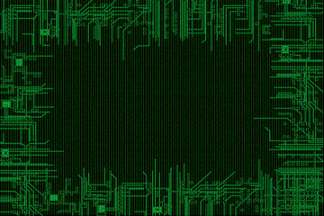 binary code background, with computer circuit in border