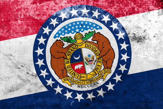 Missouri State Flag with a vintage and old look